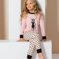 Pink junior pyjamas with cat