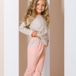 Pyjama junior étoiles beige et rose