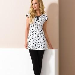 Pyjama court chats noir et blanc