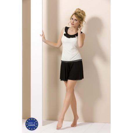 Pyjama short noir et blanc PY056 grossiste De Bas En Haut Créations