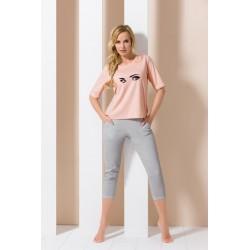 Pyjama yeux rose et gris
