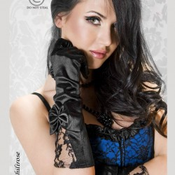 cr-3252 Black satin gloves chilirose wholesaler De Bas En Haut Créations