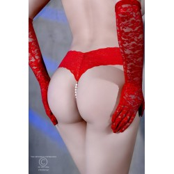Red lace thong and mini vibrator CR-4395 Chiliros wholesaler De Bas En Haut Créations