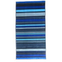 Serviette de plage rayé bleue et noire