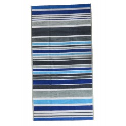 Blue and grey striped beach towel wholesaler DBH Créations