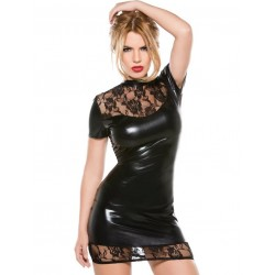 Robe wetlook dentelle