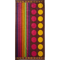 Chocolate striped beach towel wholesaler DBH Créations